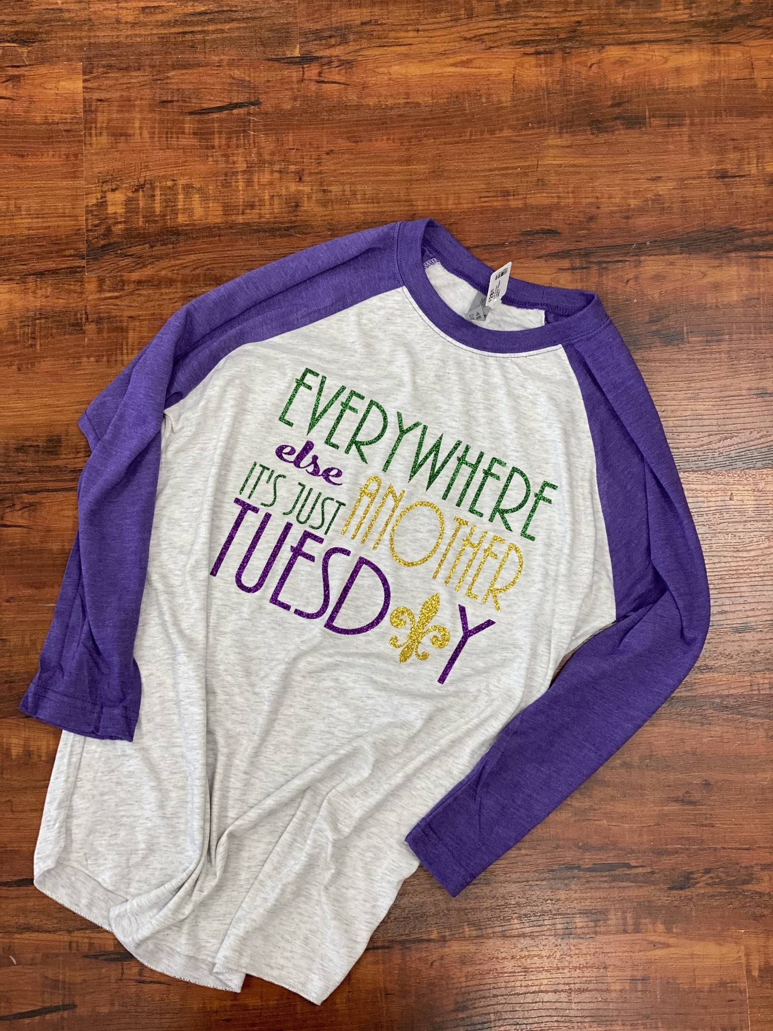 Funky Fleur de Lis Just Another Tuesday Raglan