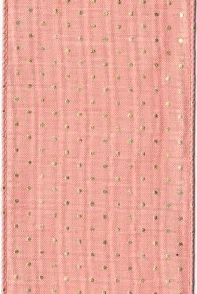 D. Stevens Peach Faux Linen w/Gold Dots Ribbon