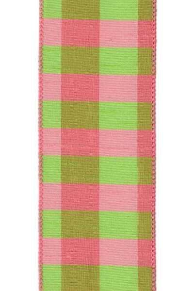 D. Stevens Pink/Green Plaid Faux Dupioni Ribbon