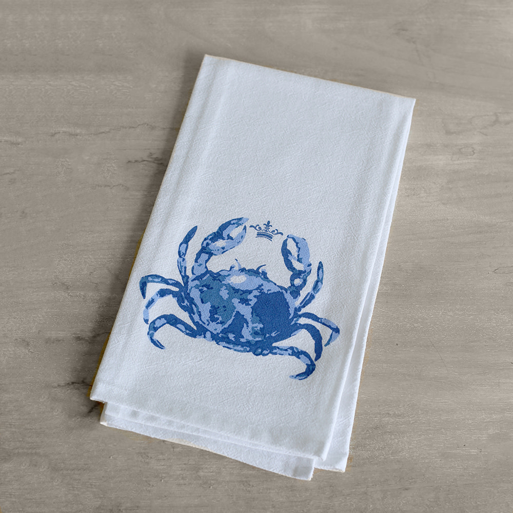The Royal Standard Watercolor Crab Floursack Towel