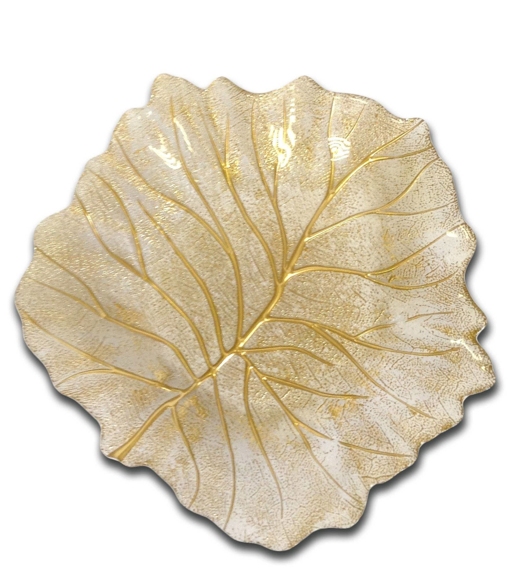 Classic Touch Decor Gold Beveled Leaf Dish