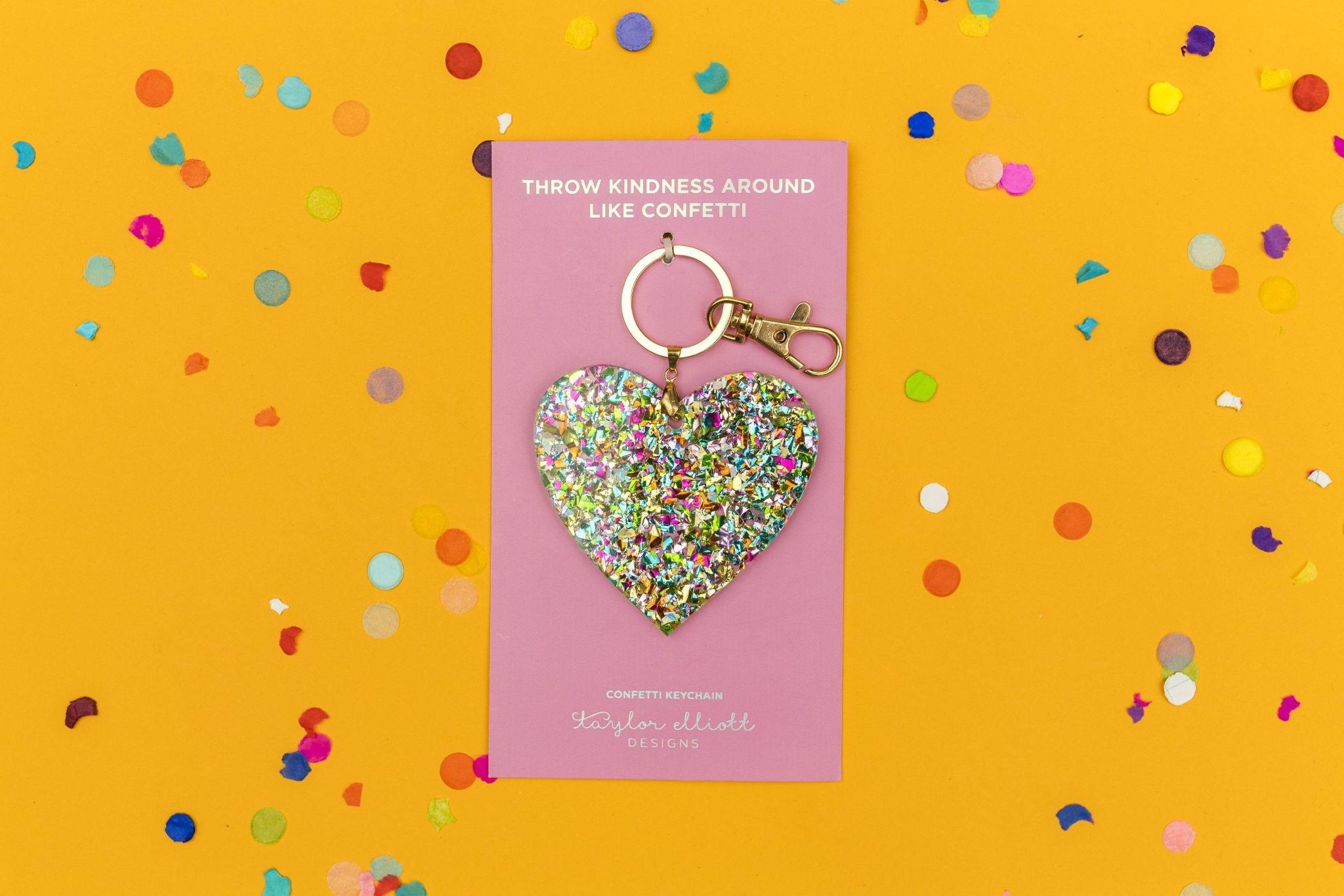 Taylor Elliott Confetti Acrylic Heart Keychain