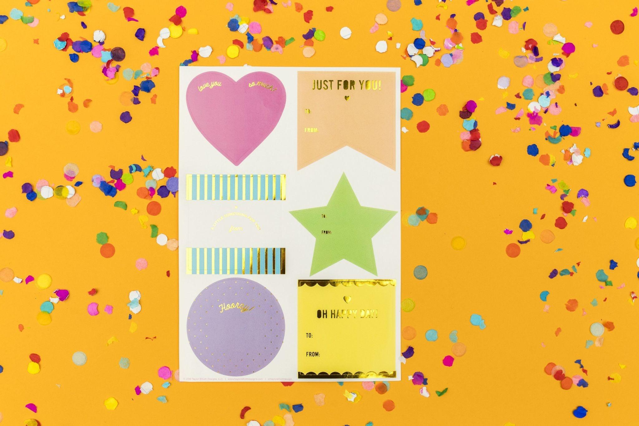 Taylor Elliott Neon Gift Tag Stickers