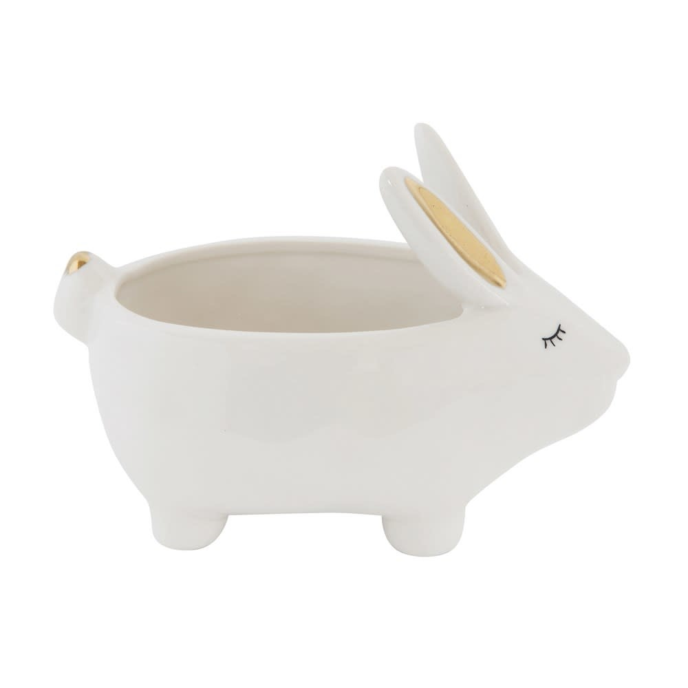 "Creative Co-Op 5.5"" Stoneware Rabbit Planter with Gold Electroplating"