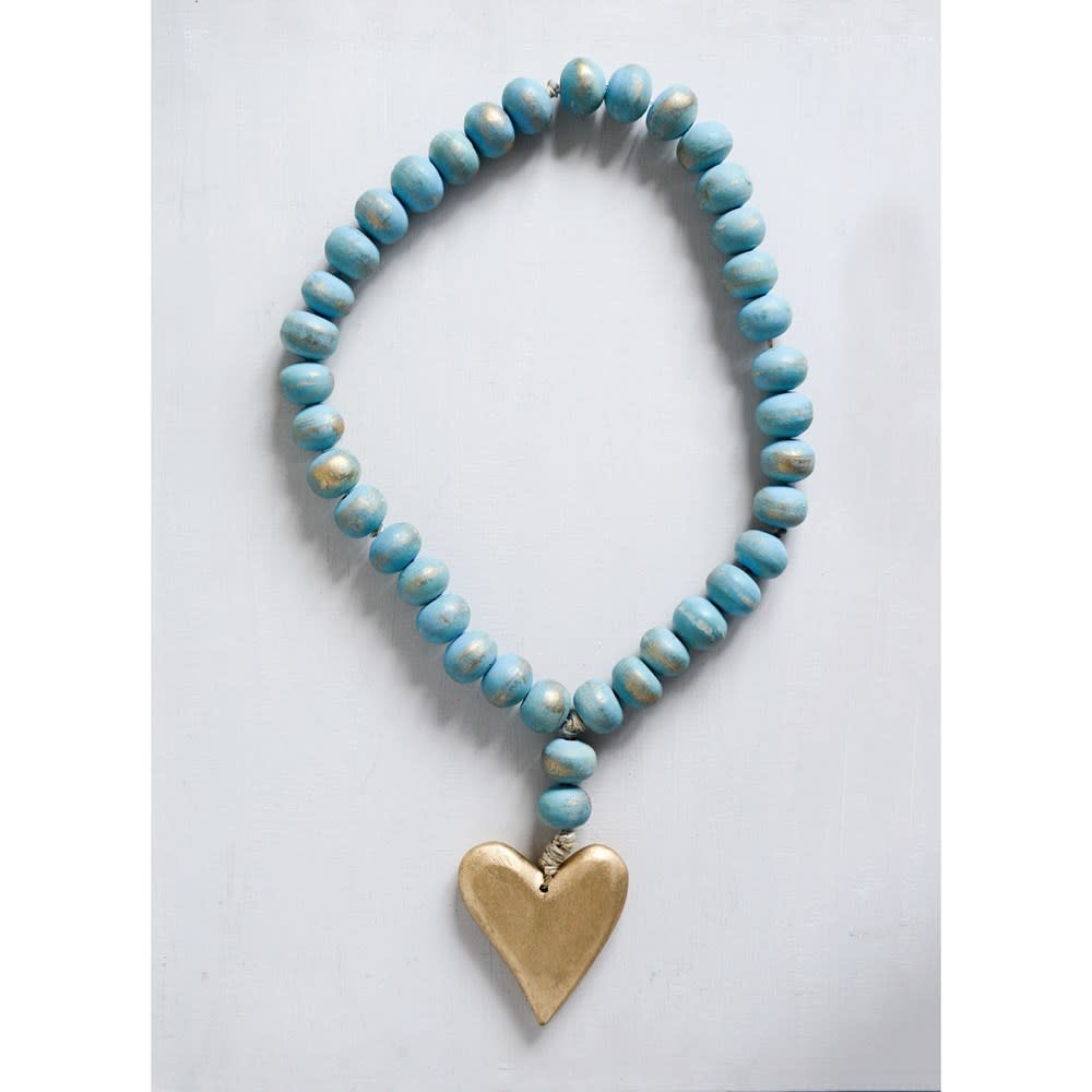 "Creative Co-Op 22"" Aqua Mango Wood Bead Strand with Heart Pendant"