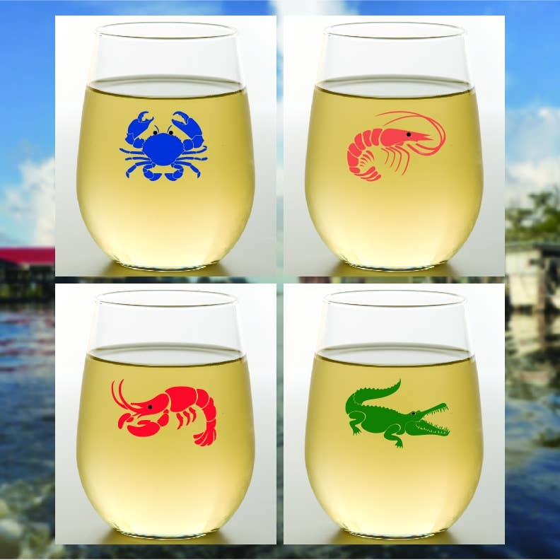 Wine-Oh! Gumbo Shatterproof Wine Glasses Set of 4