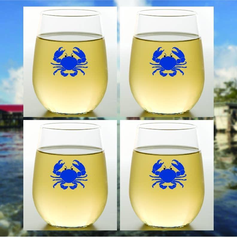 Wine-Oh! Blue Crab Shatterproof Wine Glasses Set of 4