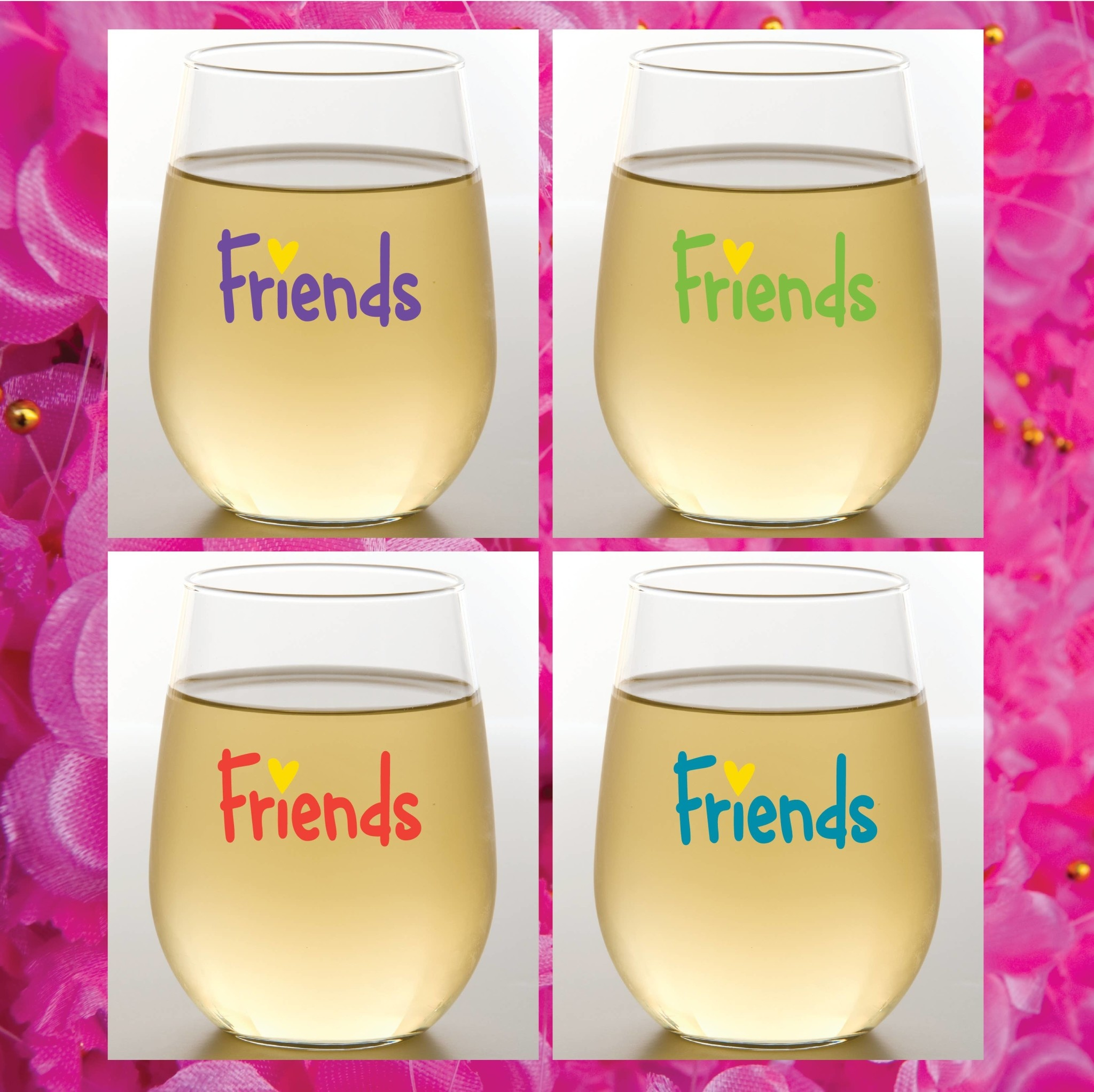 Wine-Oh! Friends Shatterproof Wine Glasses Set of 4