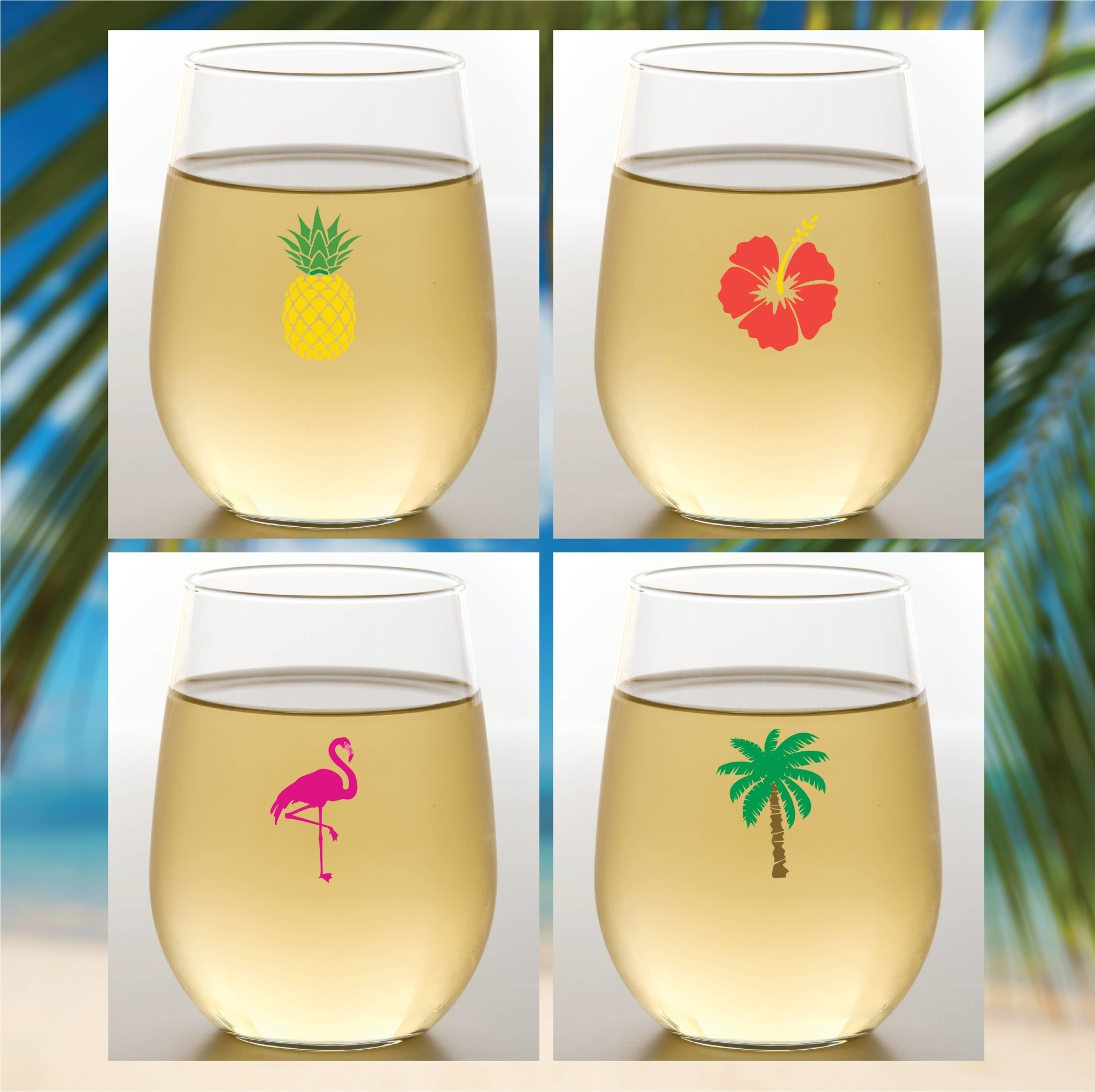 Wine-Oh! Tropical Shatterproof Wine Glasses Set of 4