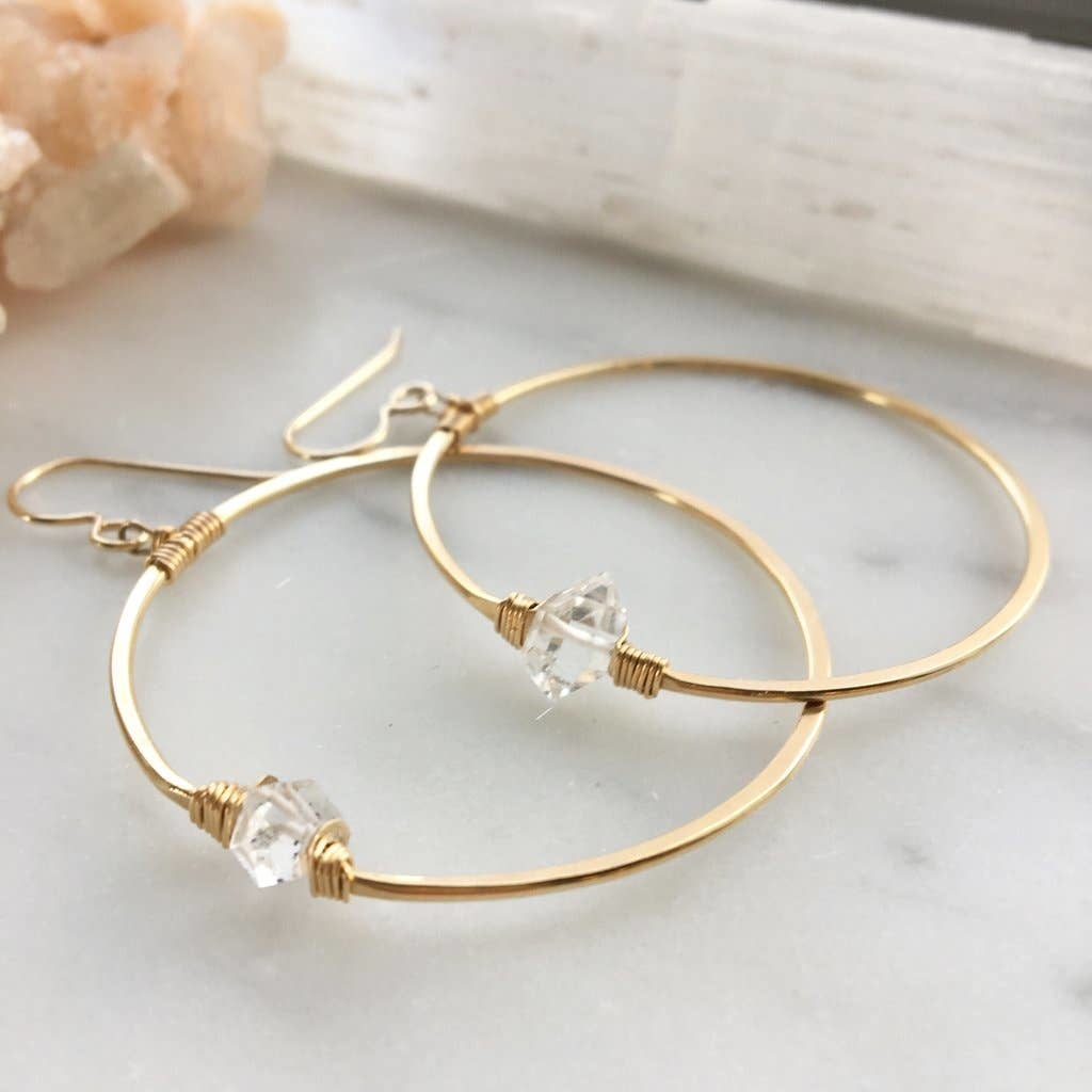 Token Jewelry Herkimer Hoops 14k Gold Fill