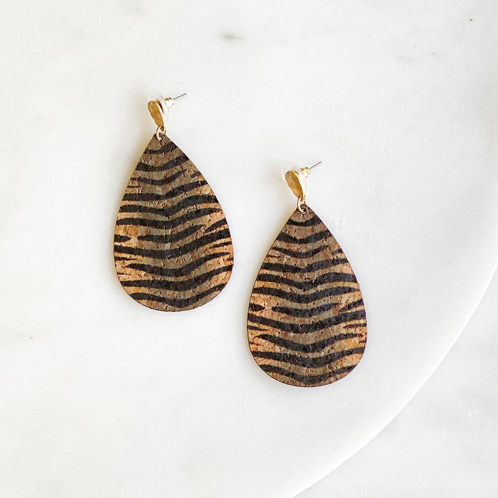 The Royal Standard Tiger Cork Earrings