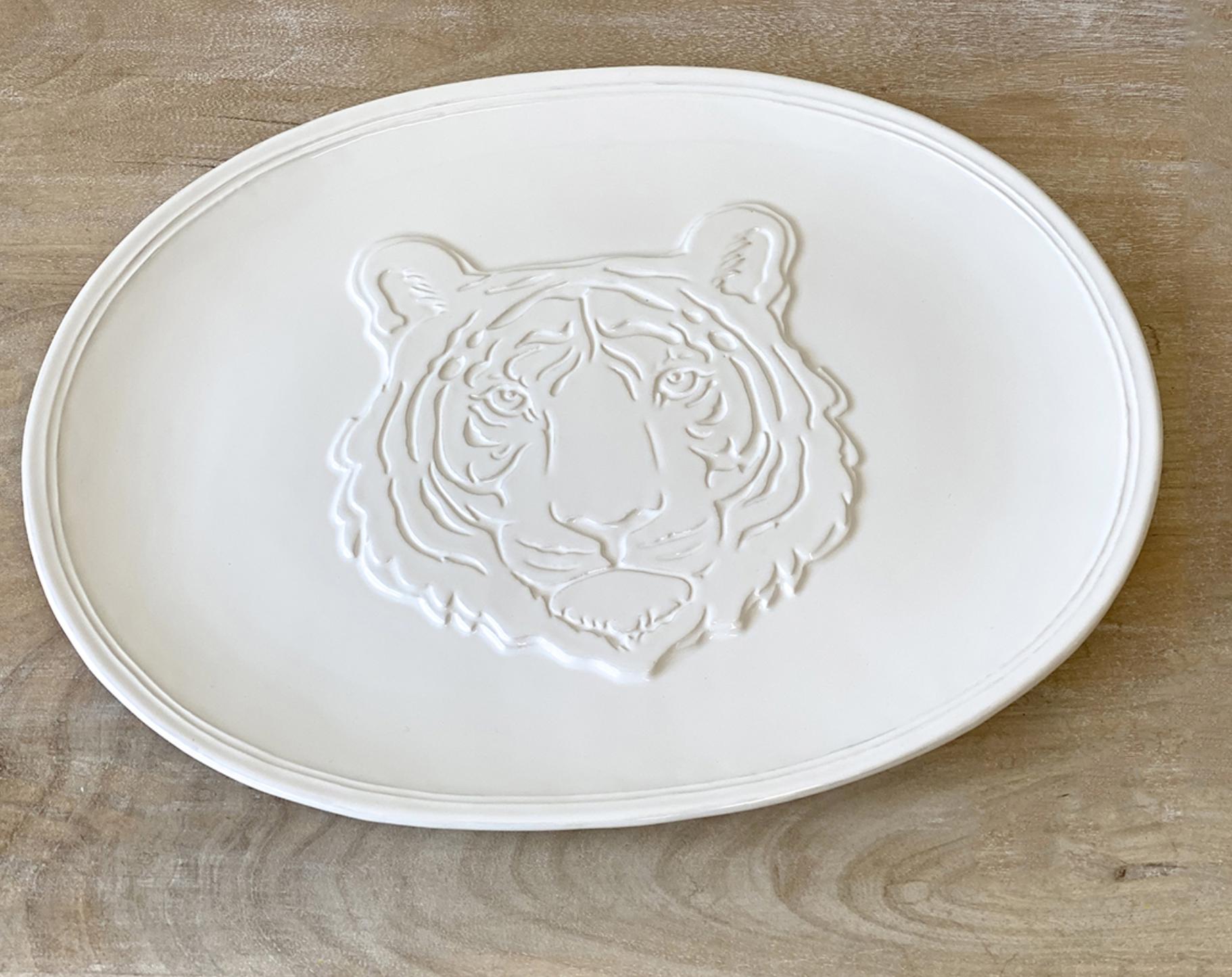 The Royal Standard Go Get 'em Tiger Embossed Platter White 16x12