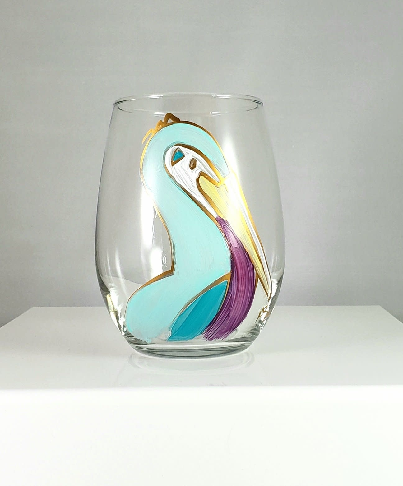 318 Art & Garden Blue Pelican Stemless Wine Glass