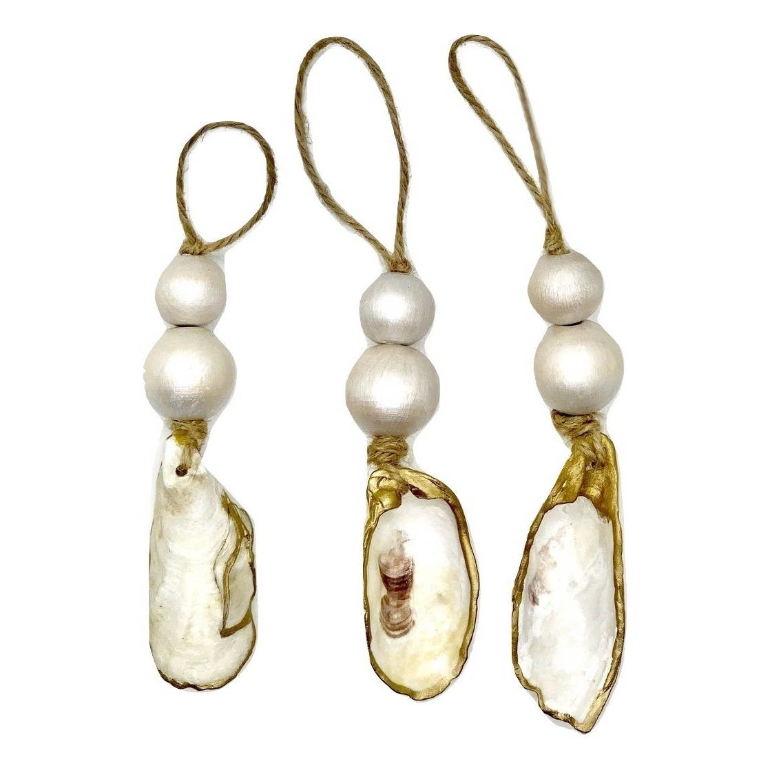 The Gilded Shell Hint of Pearl Ornament Set of 3