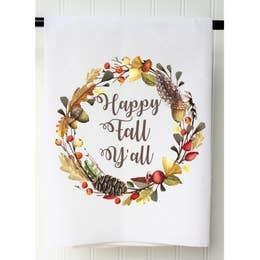 Southern Sisters Enterprises Happy Fall Y'all Flour Sack Towel