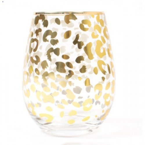 8 Oak Lane Stemless Wine Glass-Gold Leopard