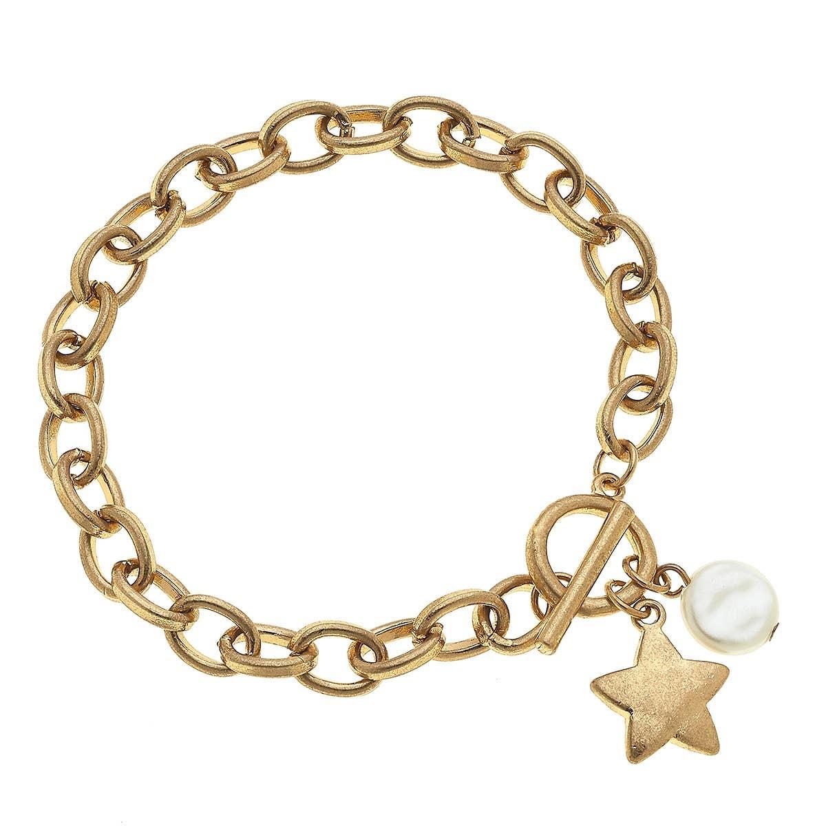 Canvas Star T-Bar Charm Bracelet-Gold