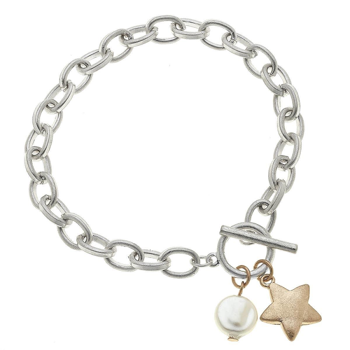 Canvas Star T-Bar Charm Bracelet-Silver
