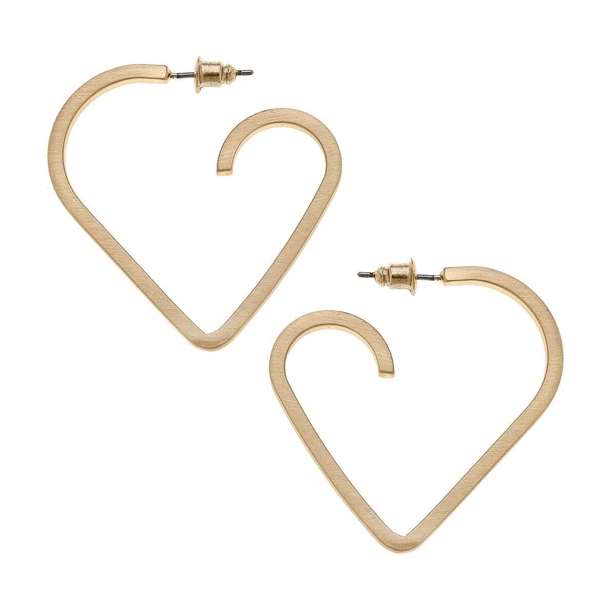 Canvas Lisl Heart Hoop Earrings-Gold