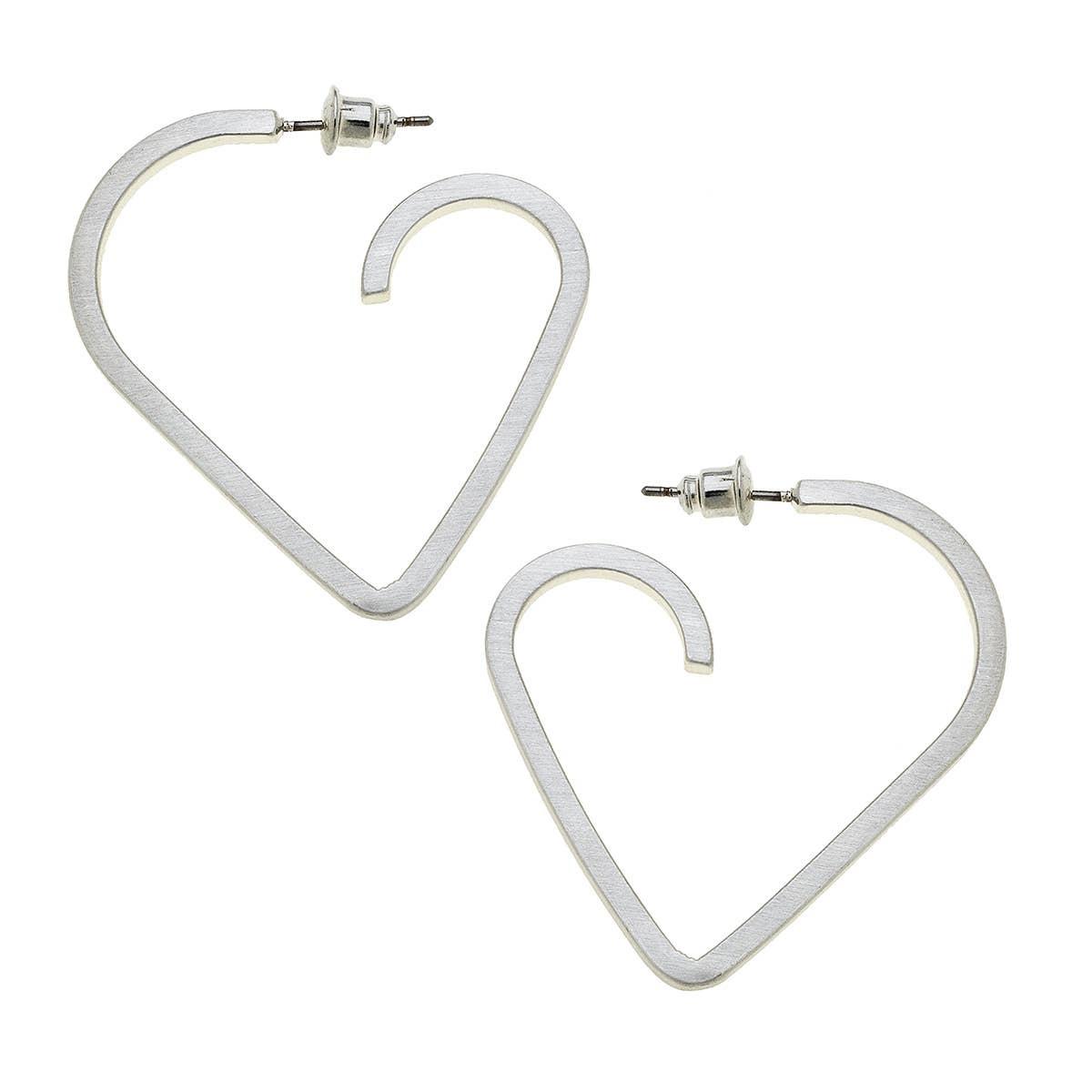 Canvas Lisl Heart Hoop Earrings-Silver