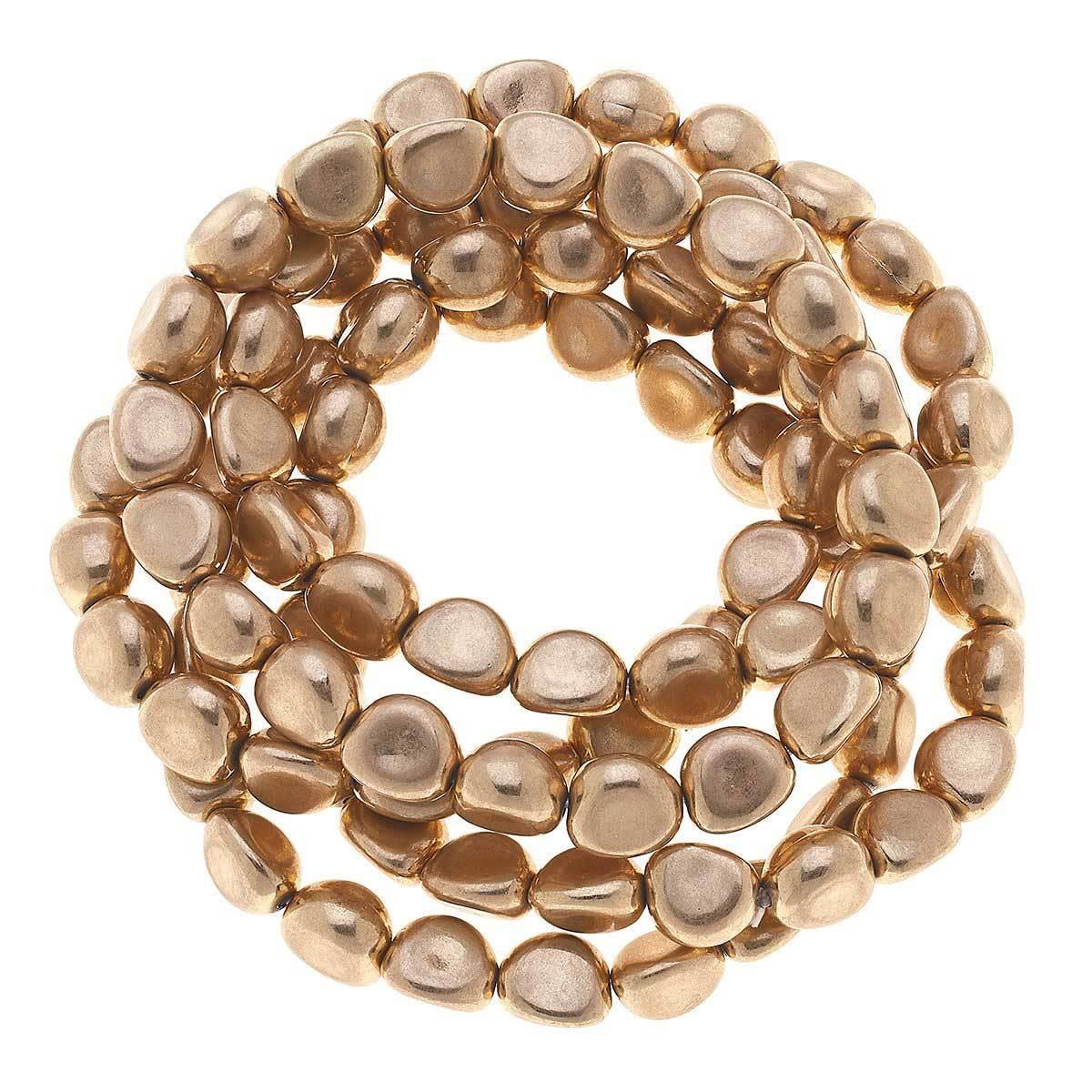 Canvas Dylan Baroque Stretch Bracelet Worn Gold
