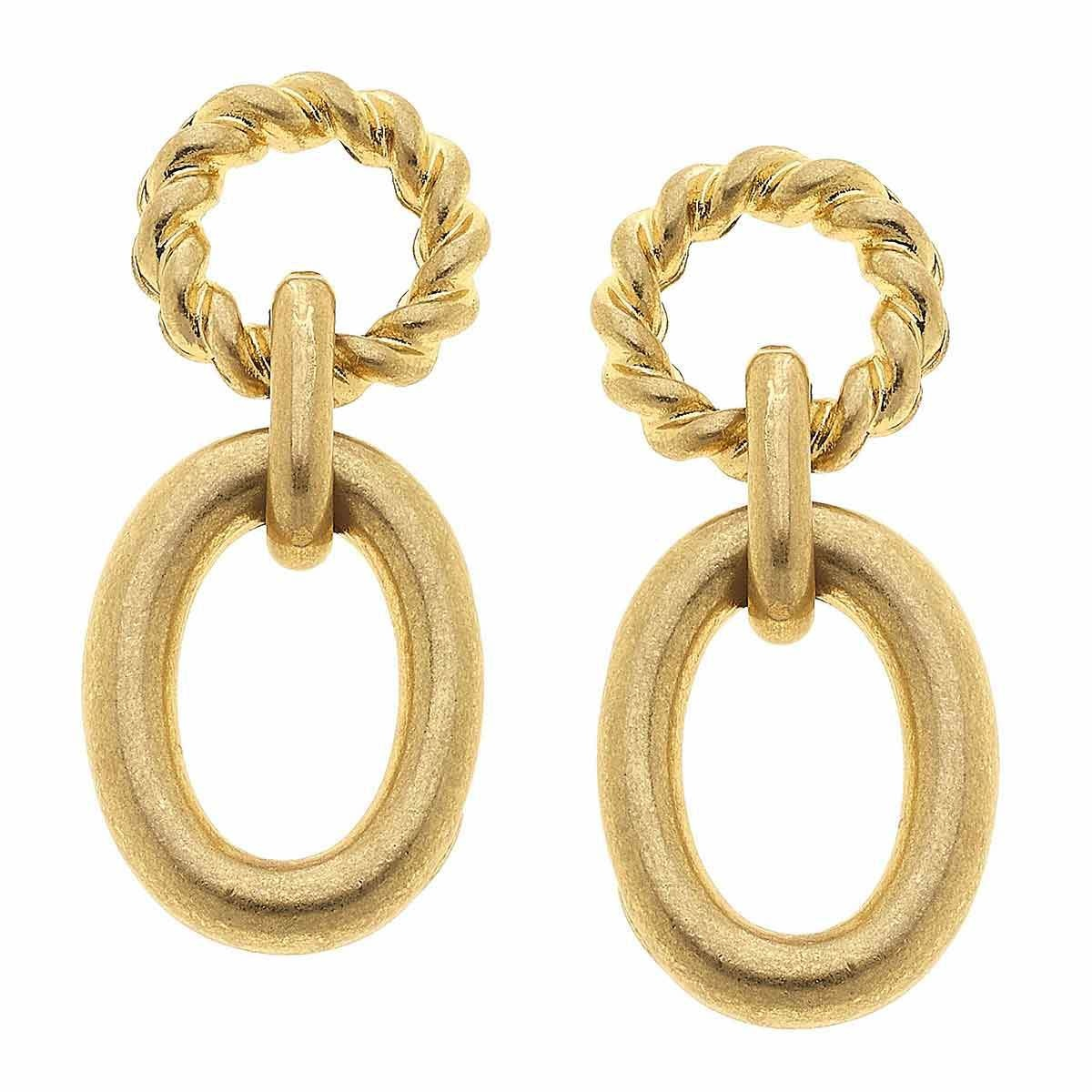 Canvas Claire Twisted Rope Drop Earrings Worn Gold