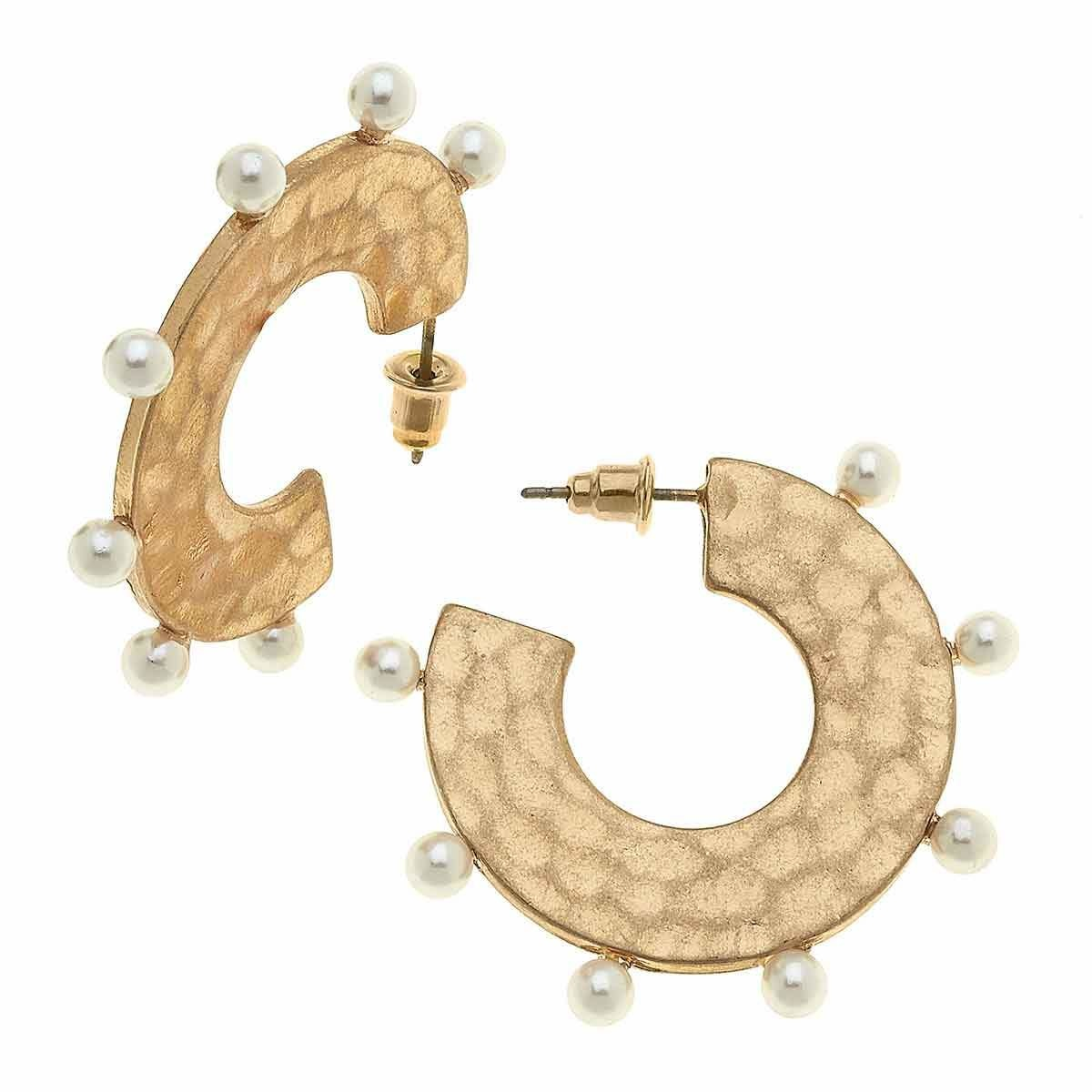 Canvas Fiona Statement Hoops in Ivory Pearl