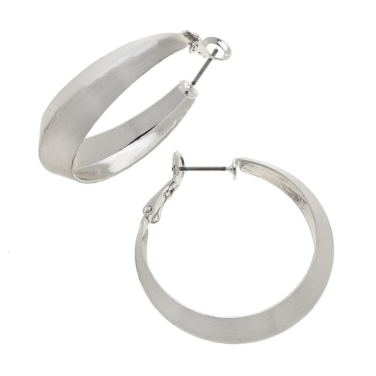 Canvas Keira Hoop Earrings Satin Silver