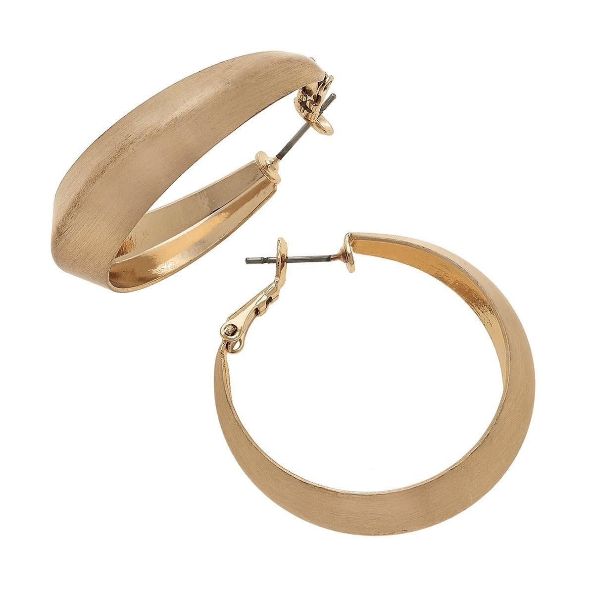 Canvas Keira Hoop Earrings Satin Gold