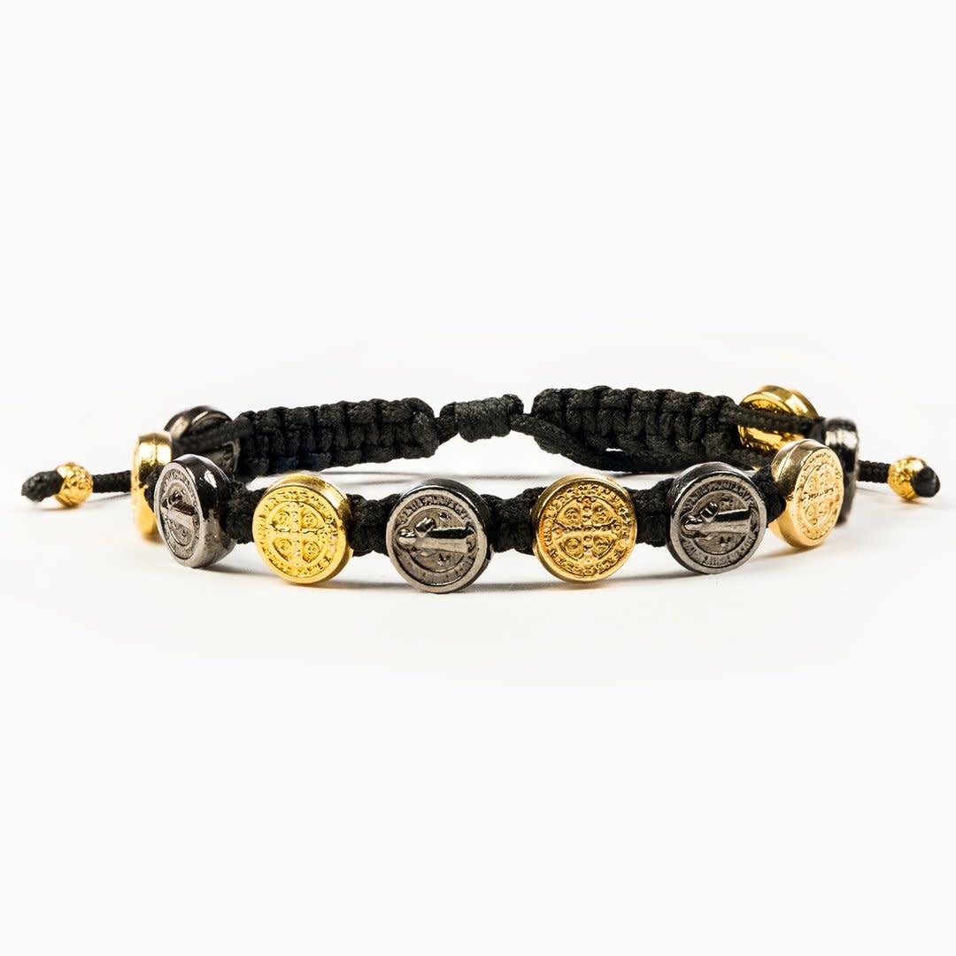 My Saint My Hero Benedictine Blessings Bracelet Jet Black/Gold Medals Black