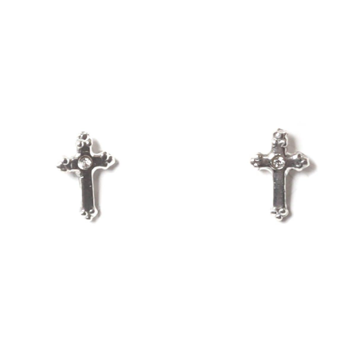 VSA Designs Post Lovers Cross Sterling Silver Earrings