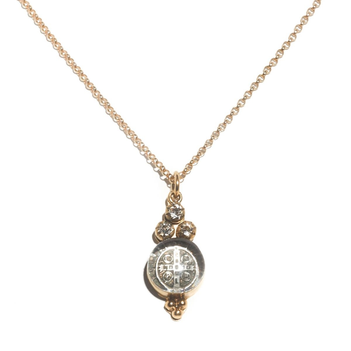 VSA Designs Lucia Charm Necklace Sterling Silver/Gold Vermeil