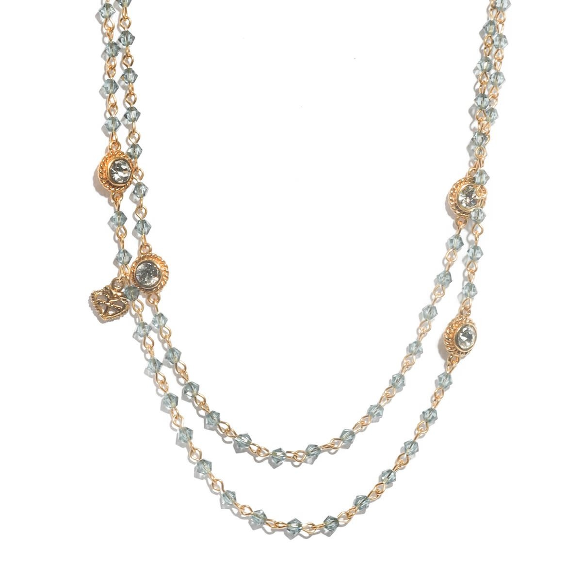VSA Designs Wrao Necklace 44 MM Bicone Gold Indian Sapphire