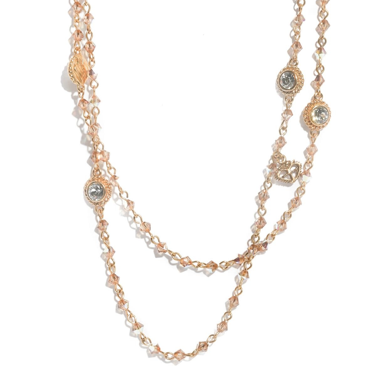 VSA Designs Wrap Necklace 4MM Bicone Gold Light Colorado Topaz