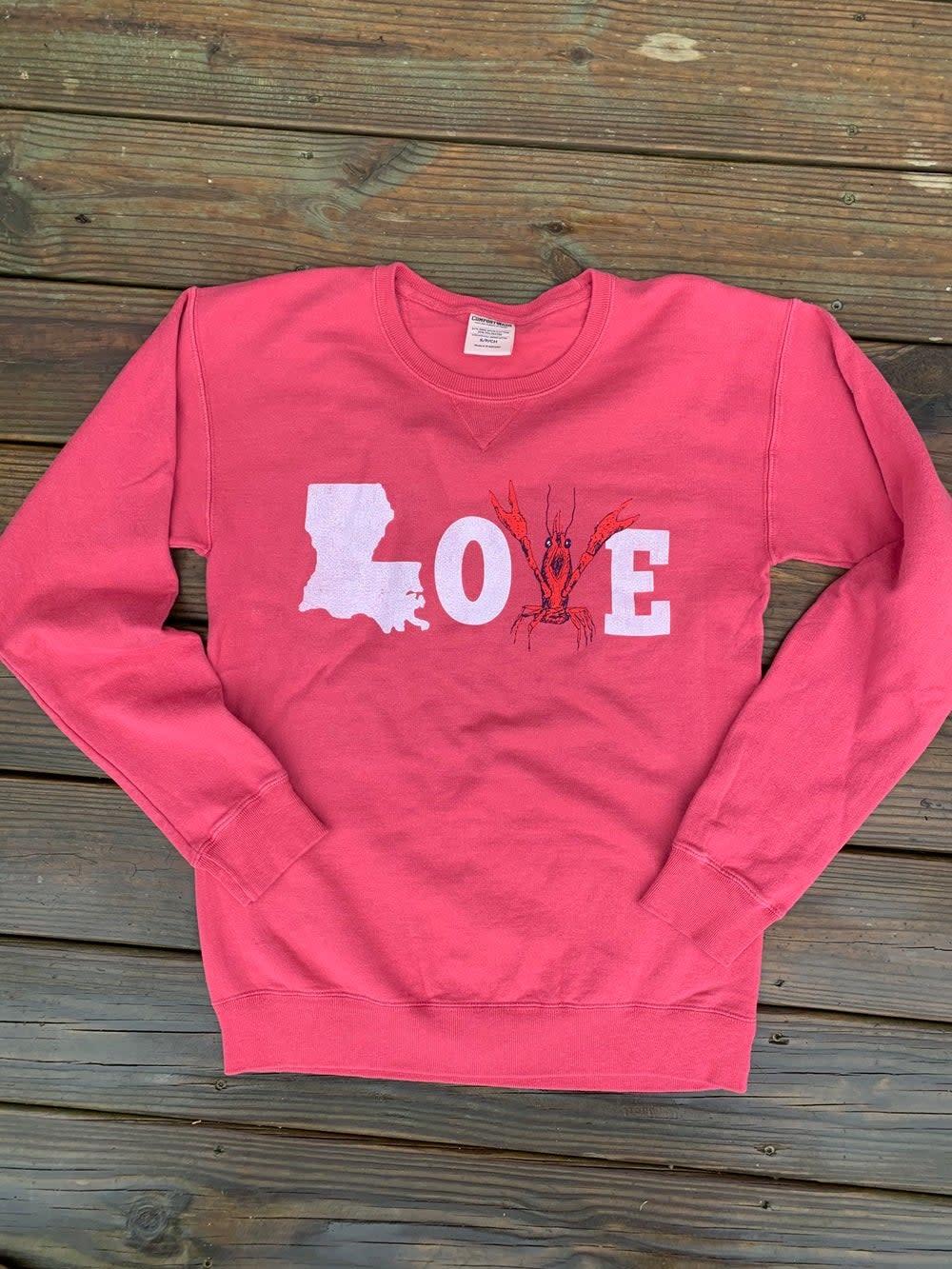 Mr Ps Tees Adult LOVE Crawfish Sweatshirt