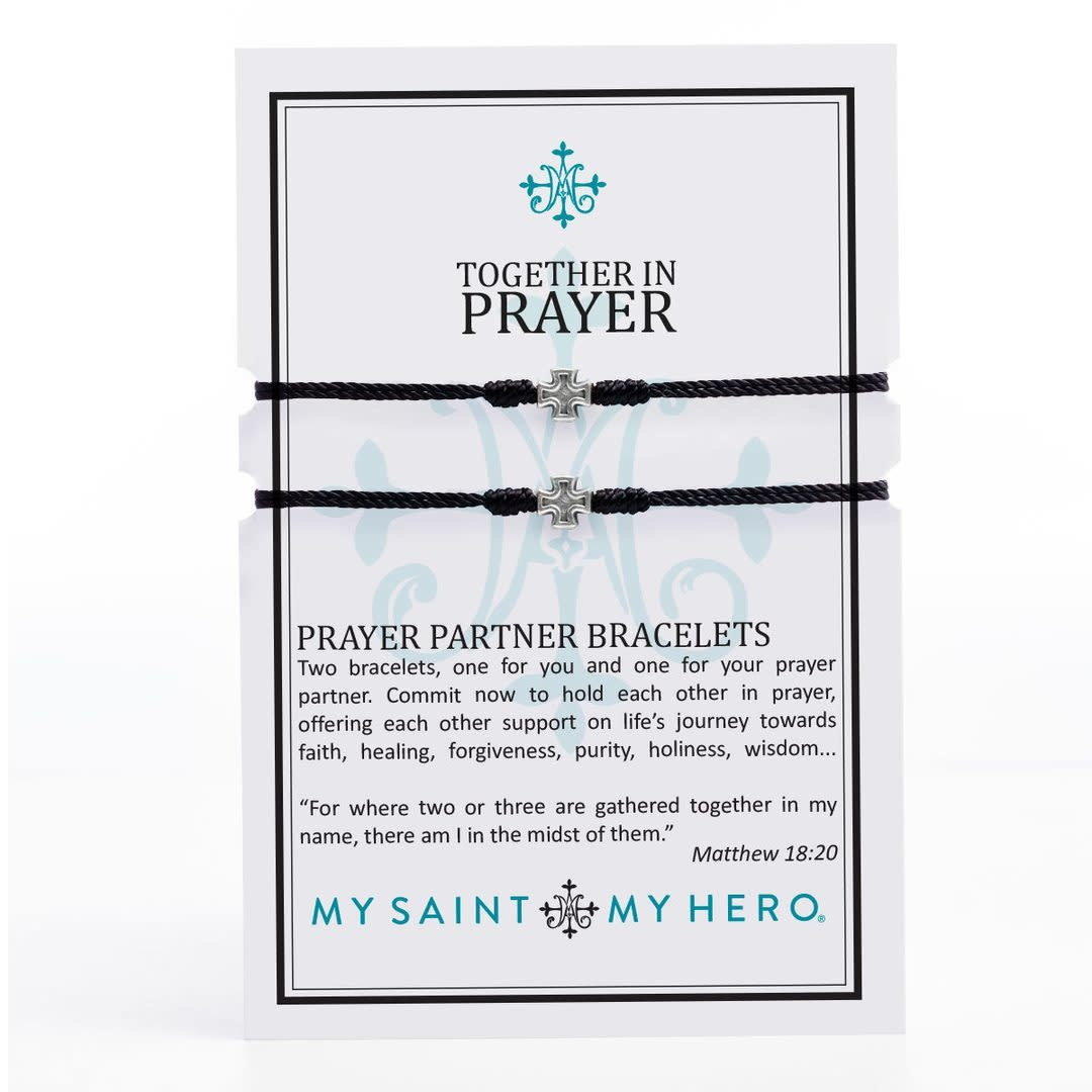 My Saint My Hero Prayer Partner Bracelets- Silver/Black
