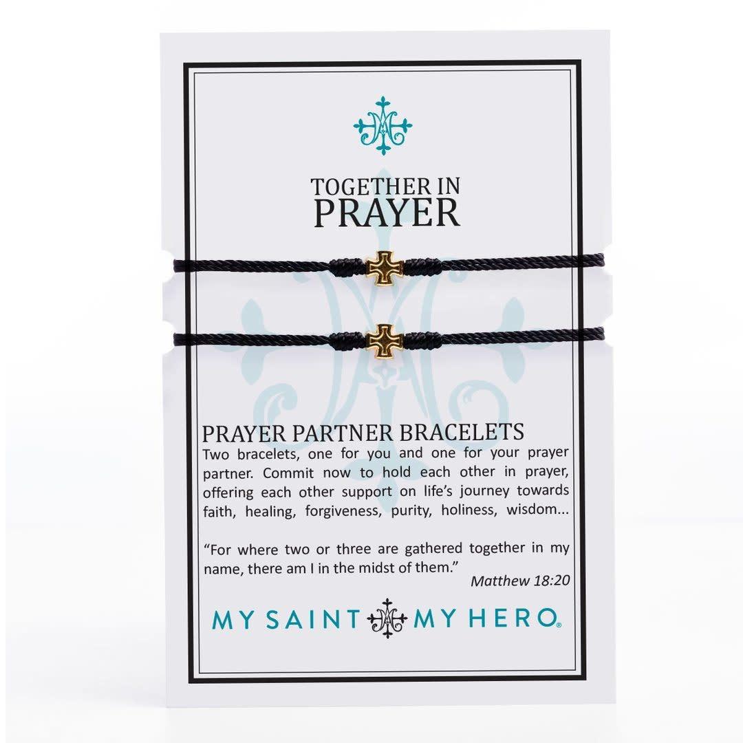 My Saint My Hero Prayer Partner Bracelets-Gold/Black