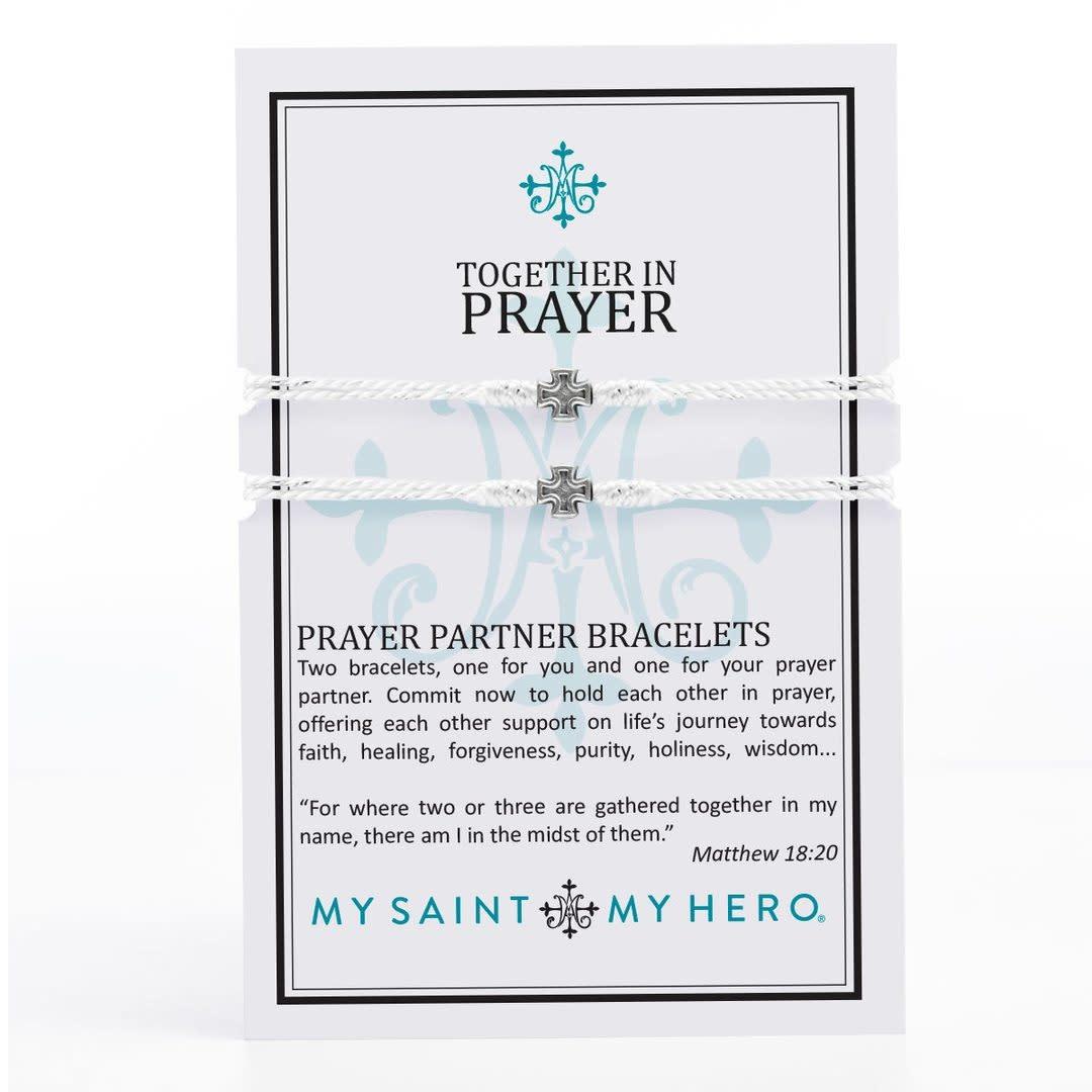 My Saint My Hero Prayer Partner Bracelets-Silver/Metallic Silver