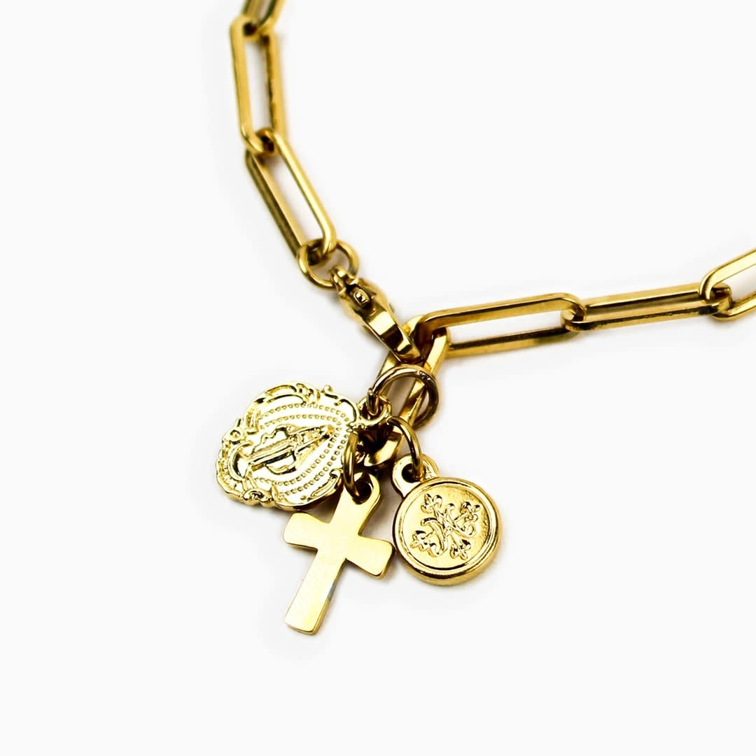 """My Saint My Hero Renewal Consecration Necklace 20"""" Gold"""