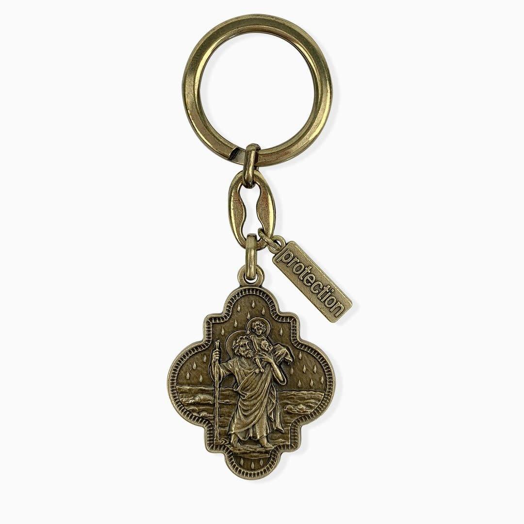 My Saint My Hero St. Christopher Travel Protection Key Ring Bronze