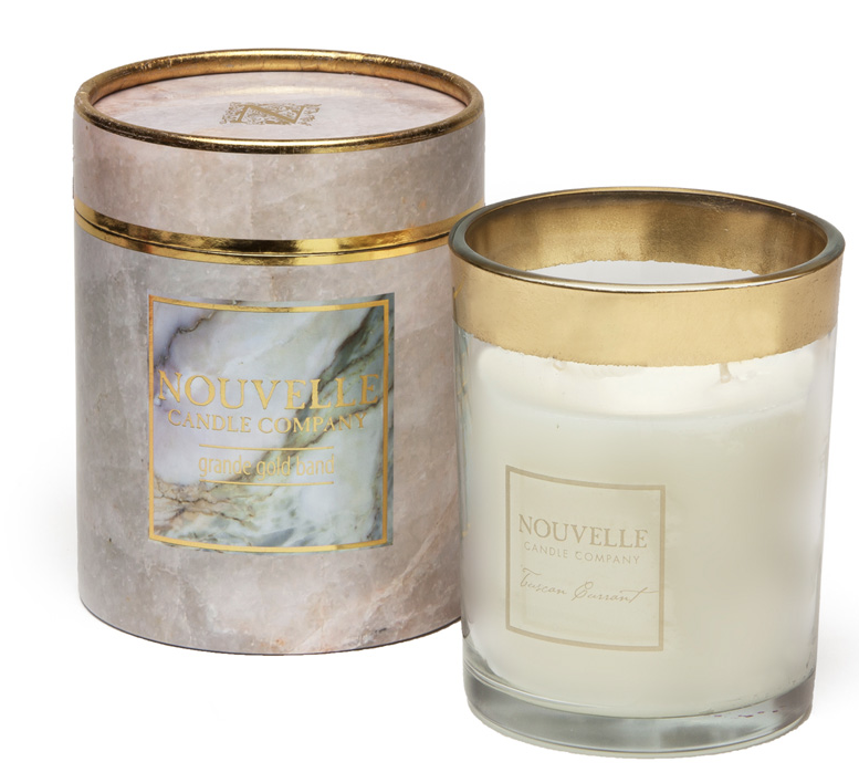 Nouvelle Candle Company Grapefruit Blackberry Grande Gold Band