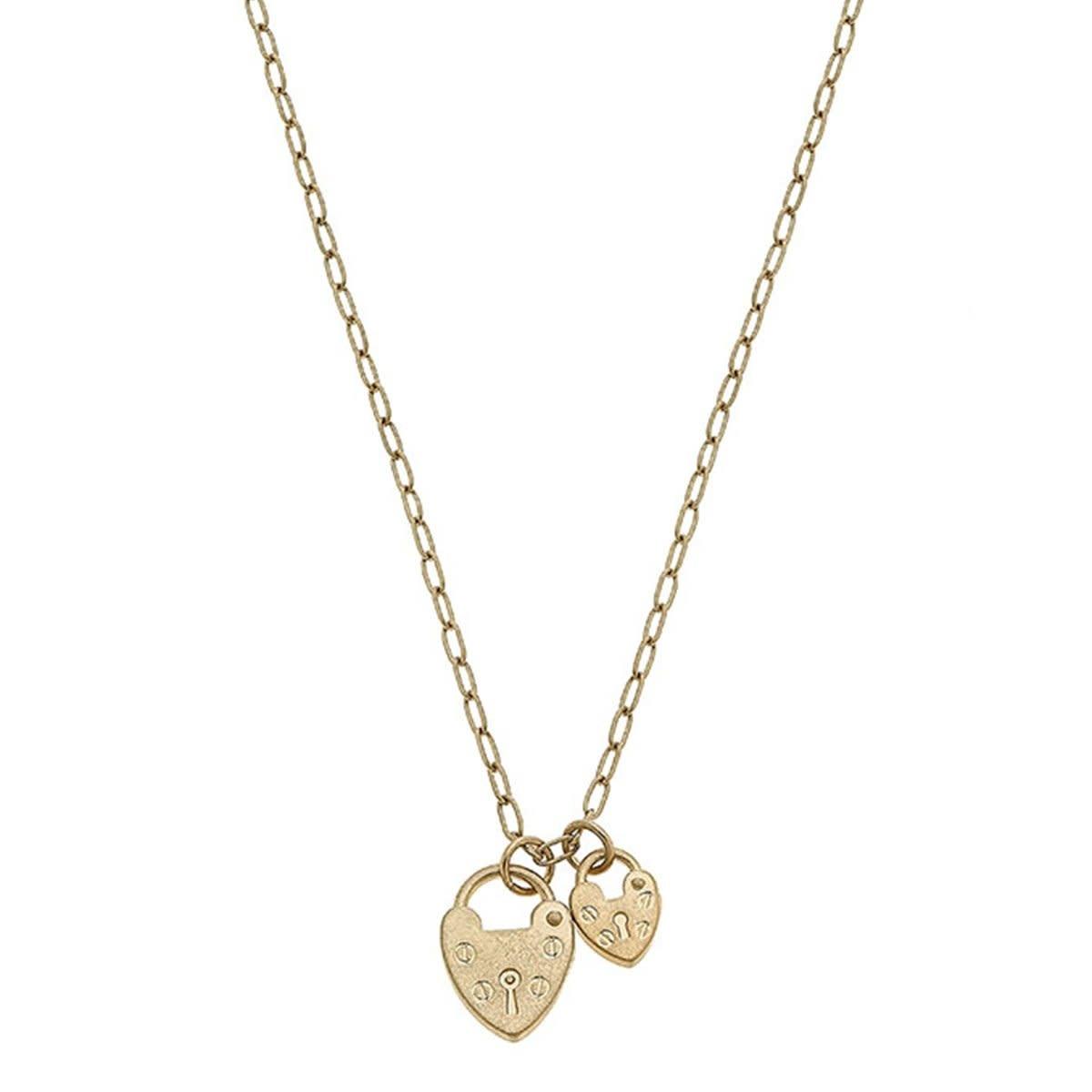 Canvas Mia Heart Padlock Charms Necklace
