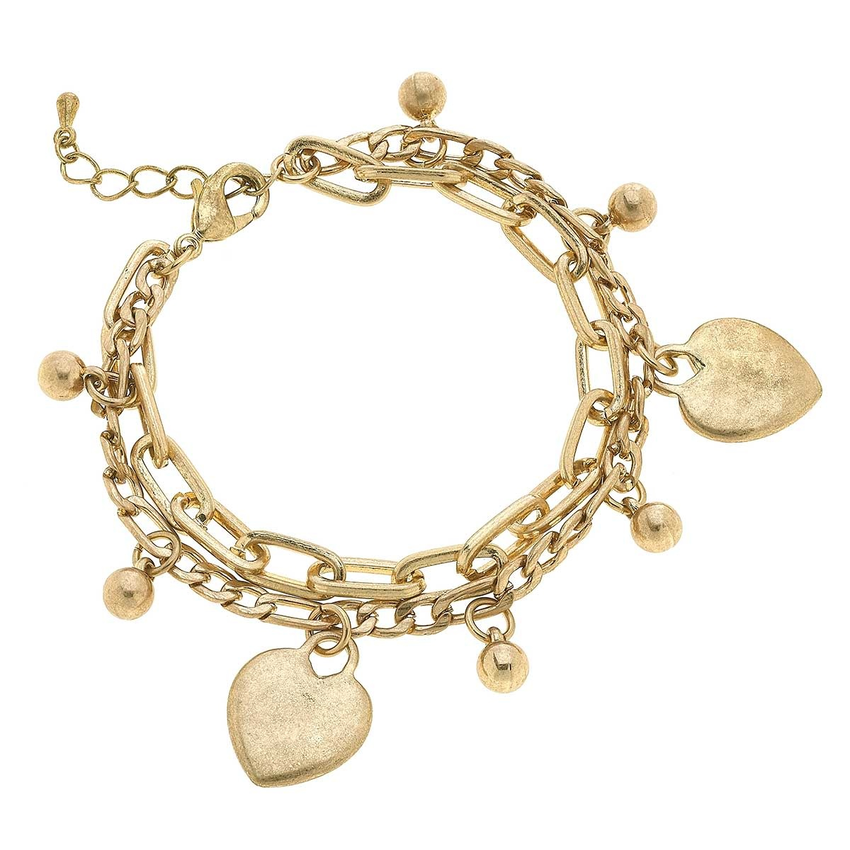 Canvas Serena Heart Layered Chain Link Bracelet