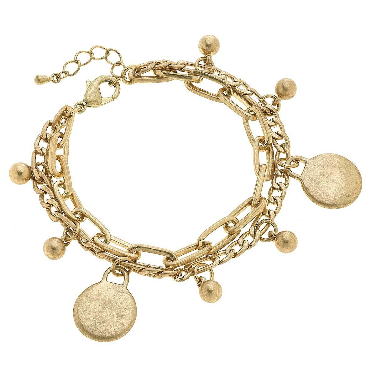 Canvas Serena Disc Layered Chain Link Bracelet