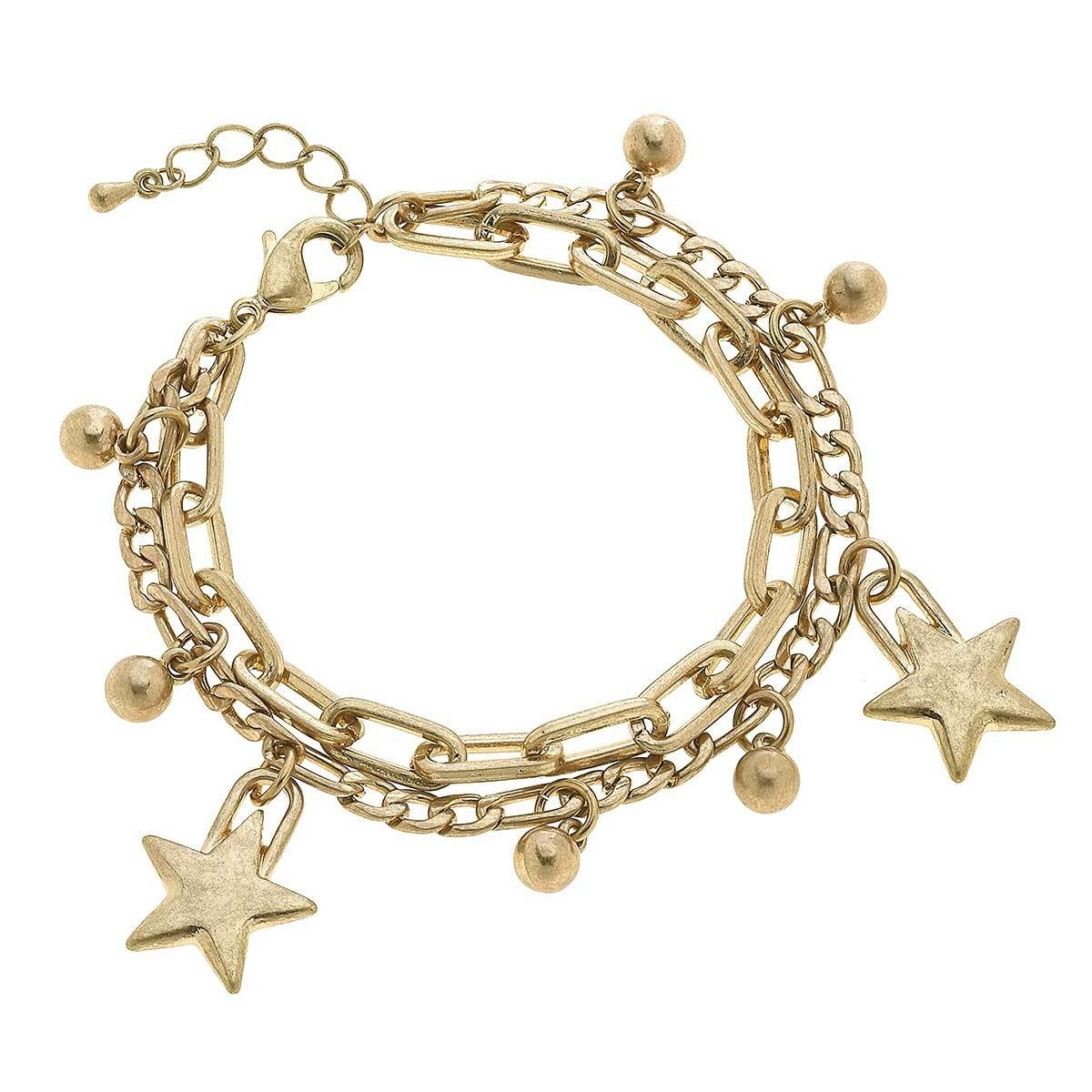 Canvas Serena Star Layered Chain Link Bracelet