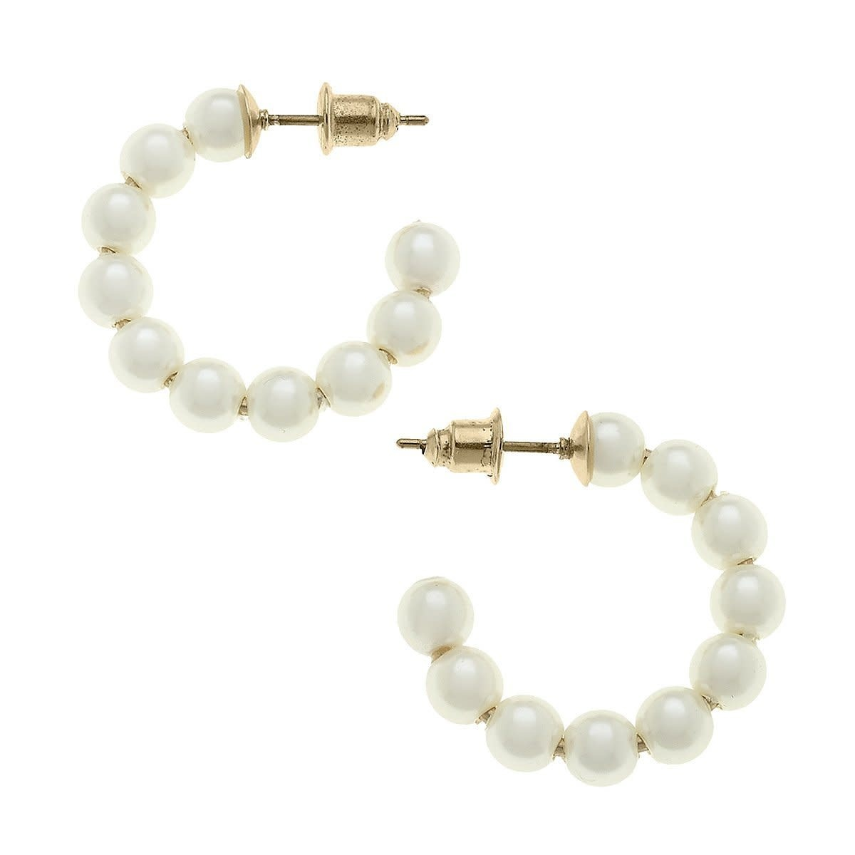 Canvas Demi Hoop Earrings in Ivory Pearl