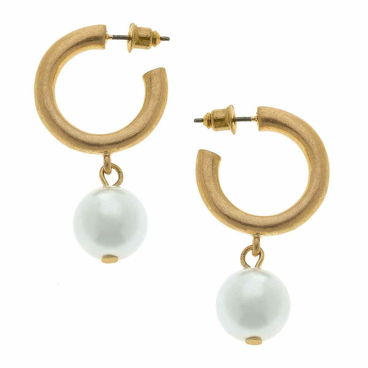 Canvas Beth Pearl Drop Hoop Earrings-Ivory