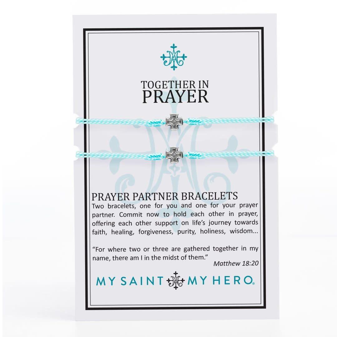 My Saint My Hero Prayer Partner Bracelets Silver/Mint