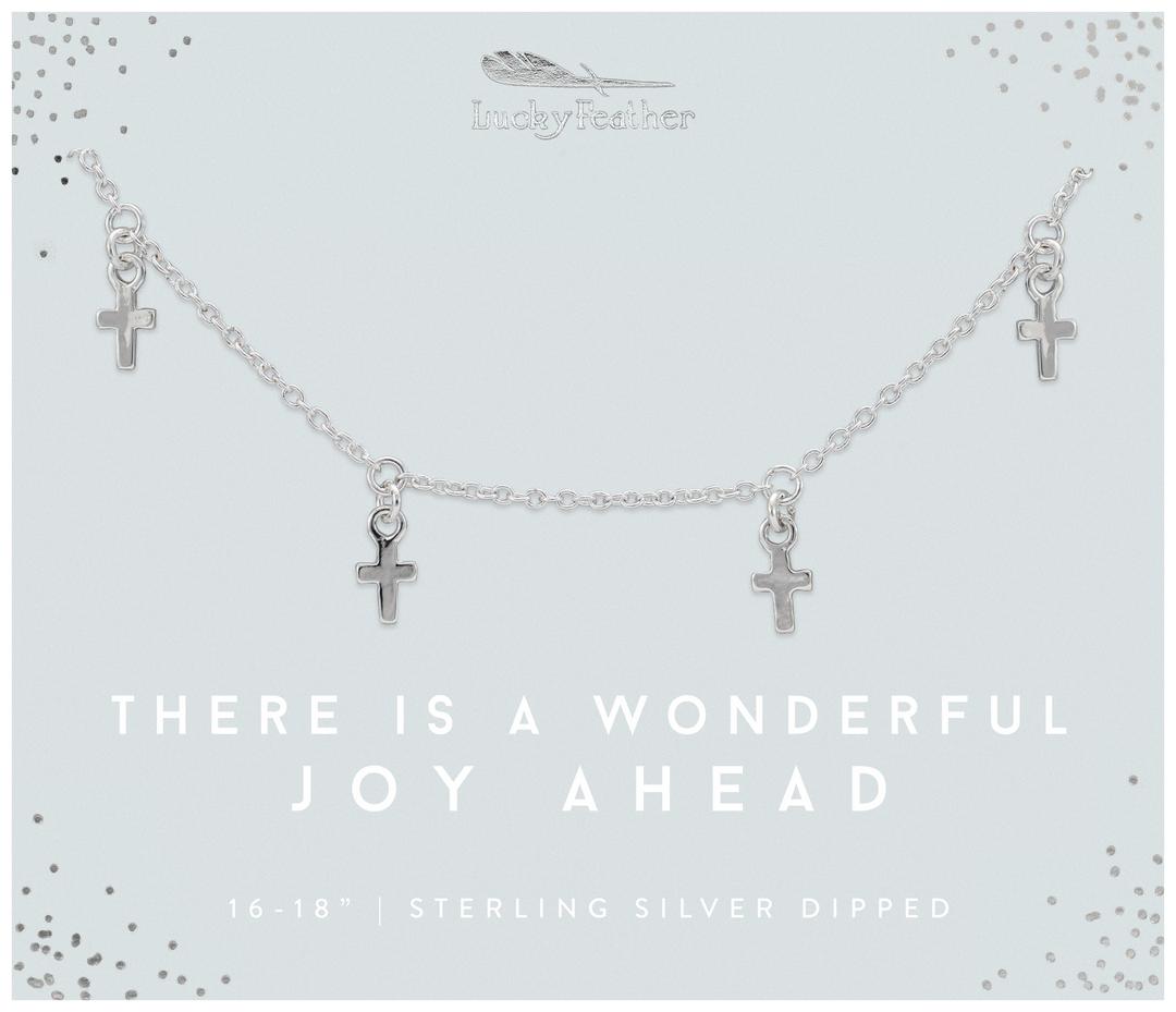 Lucky Feather Wonderful Joy Cross Dangle Necklace-Silver