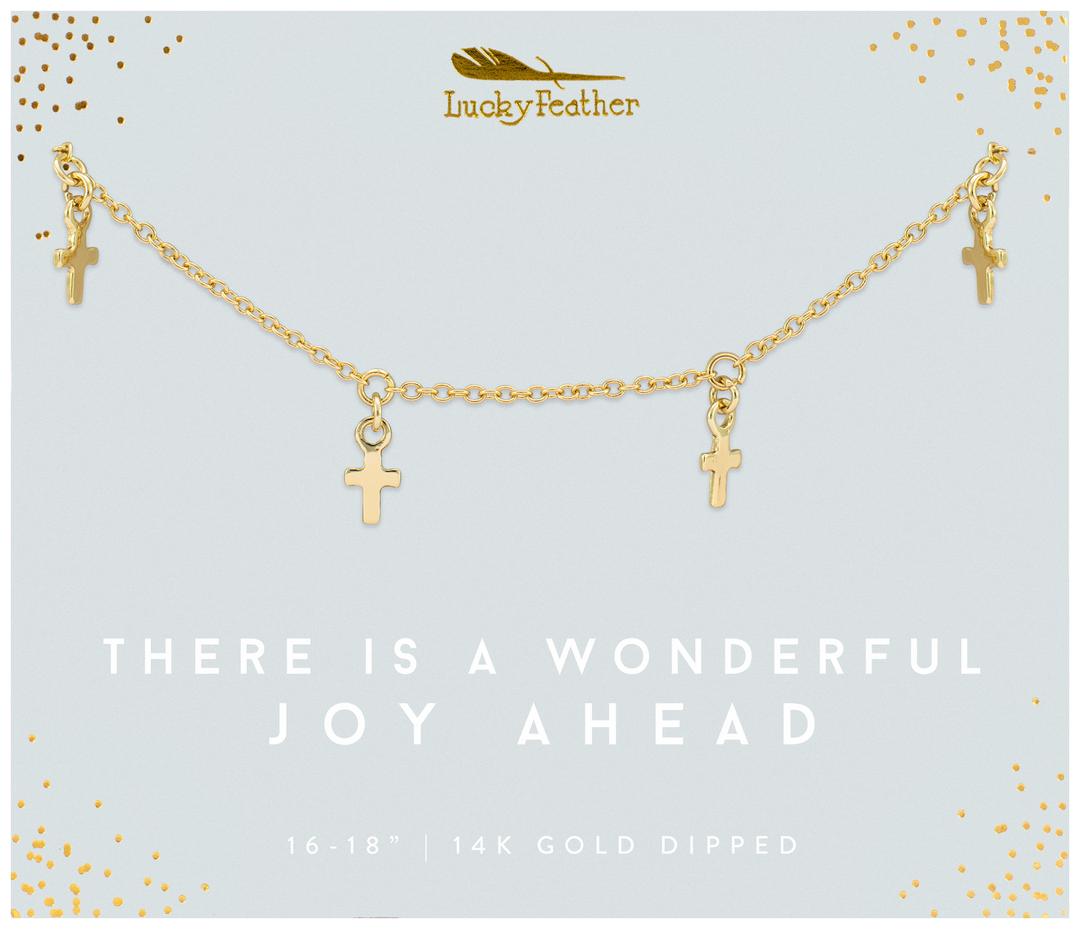 Lucky Feather Wonderful Joy Cross Dangle Necklace-Gold